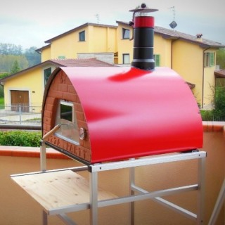 Outdoor wood fired oven mobile 70x70 Red